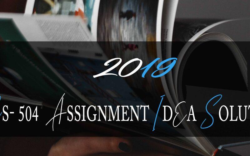 CS504 Assignment Solution 2019