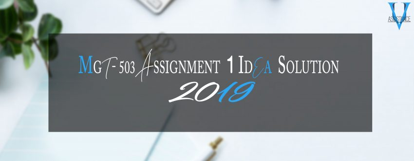 MGT503 Assignment 1 Solution 2019