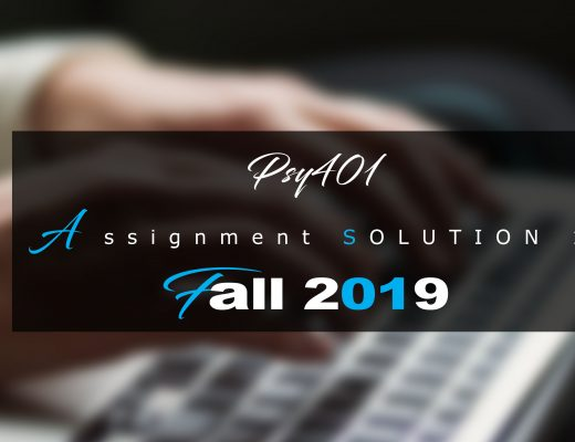 Psy401 Assisgnment 1 Idea SOLUTION Fall 2019