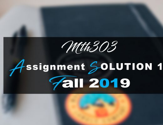 Mth303 Assignment 1 Idea SOLUTION Fall 2019