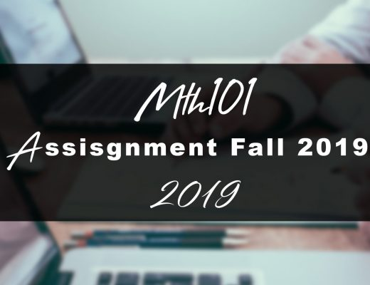Mth101 Assignment 1 Idea SOLUTION Fall 2019