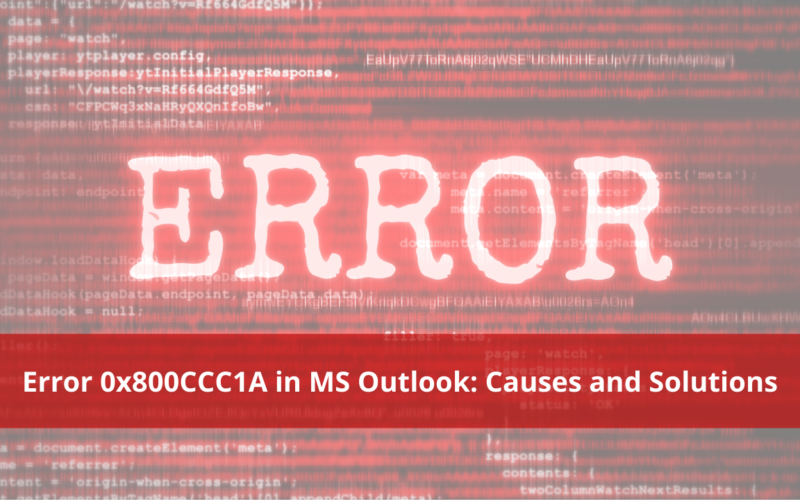 Error 0x800CCC1A in MS Outlook